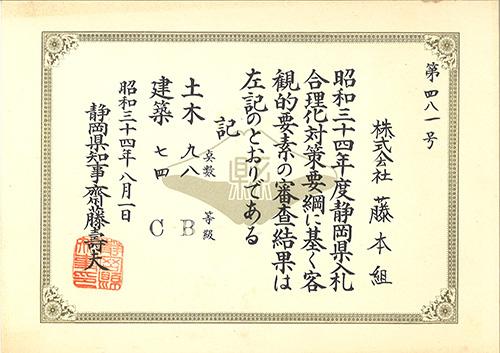 19590801 昭和34年度入札審査結果