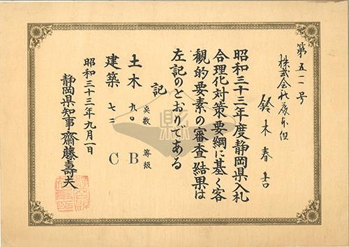 19580901 昭和33年度入札審査結果