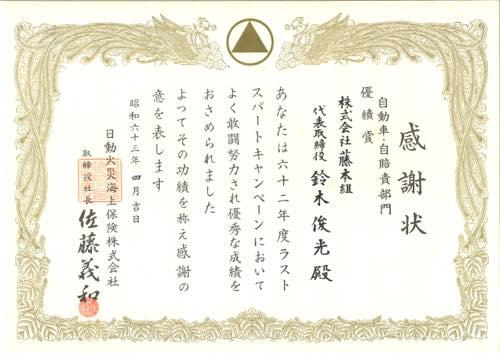 19880499 感謝状 日動火災海上保険
